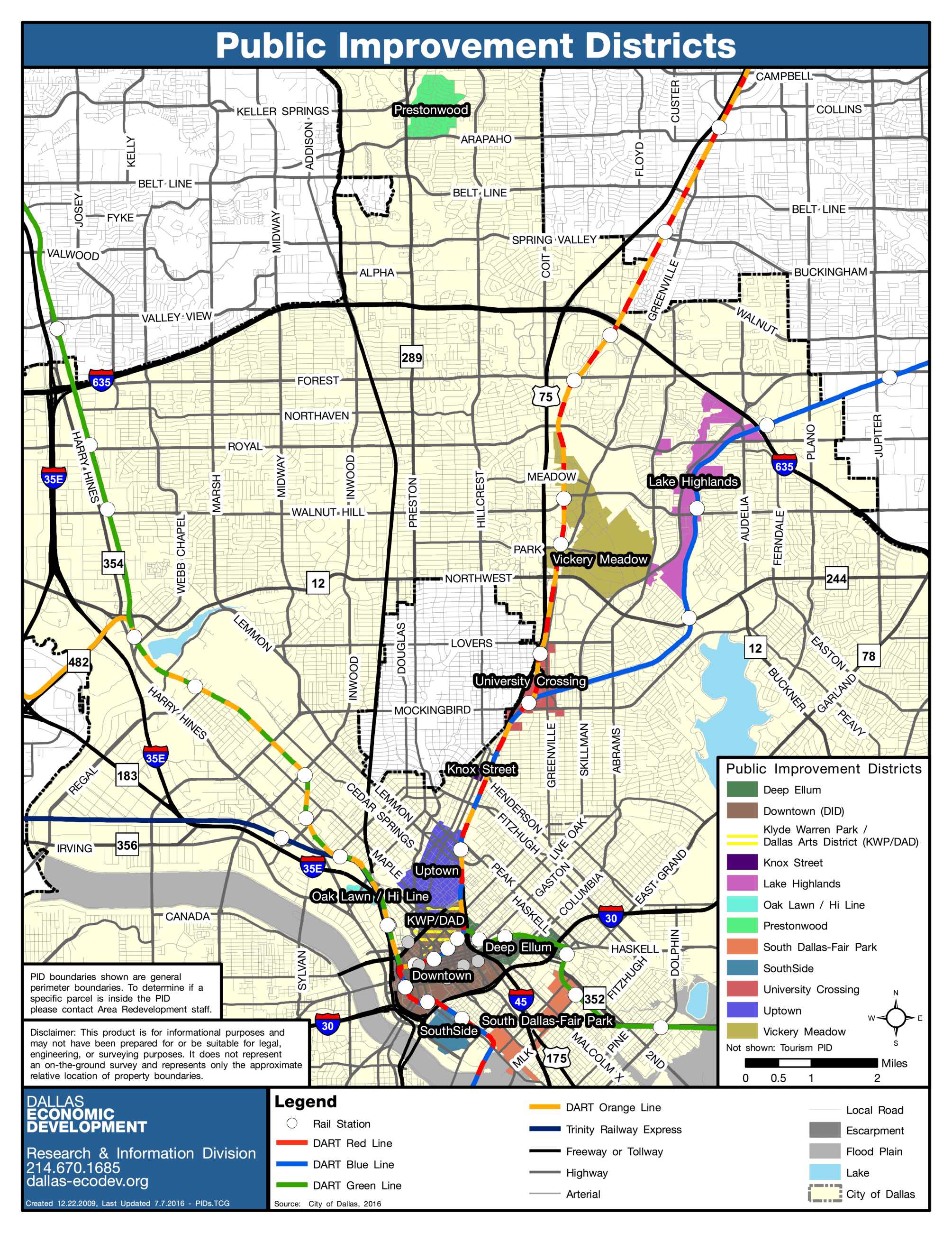 City of Dallas Public Improvement Districts Map_Updated